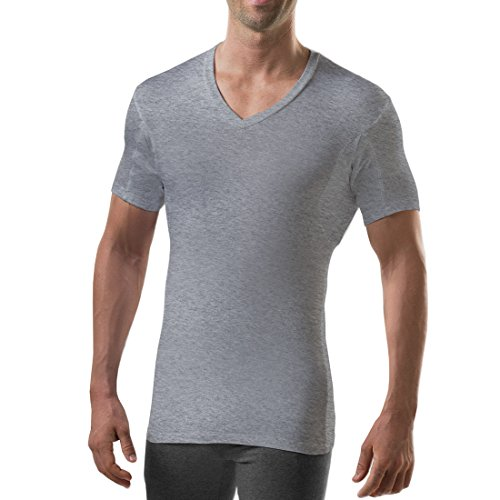 Sweatproof Undershirt for Men with Underarm Sweat Pads (Slim Fit, V-Neck) Heather Grey
