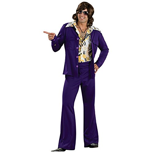 [Rubie's Costume 60's Revolution Men's Leisure Suit, Purple, One Size Costume] (Mens Disco Pants Costume)