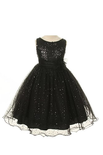 Satin Glam Formal Gown (Girl's Sequin & Glitter Tulle Special Occasion Holiday Pageant Dress - Black)