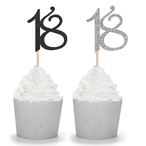 24 Counts Silver and Black Number 18 Cupcake Toppers 18th Birthday Party Picks Age -