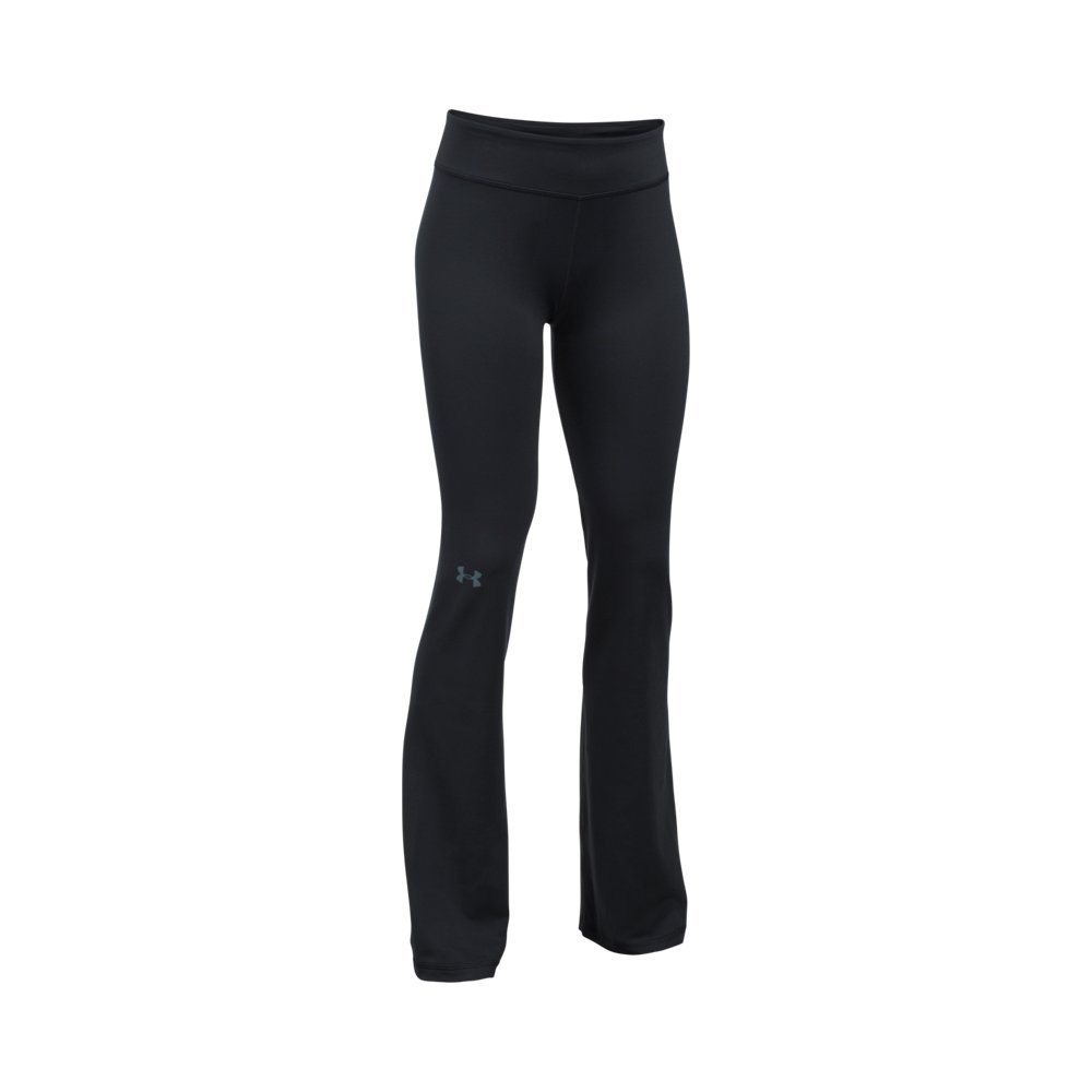Under Armour Girls Elevated Training Flare Pants,Black (001)/Apollo Gray, Youth Small