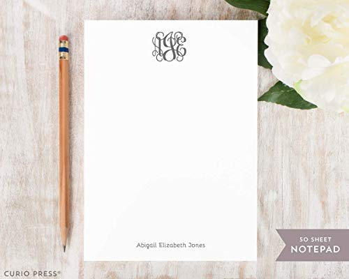 VINE MONOGRAM NOTEPAD - Personalized Traditional Stationery/Stationary 5x7 or 8x10 Note Pad