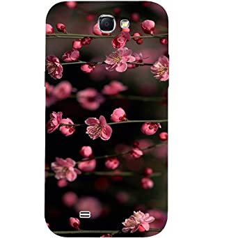 Casotec Pink Flowers Design 3D Hard Back Case Cover for Samsung Galaxy Note 2 N7100