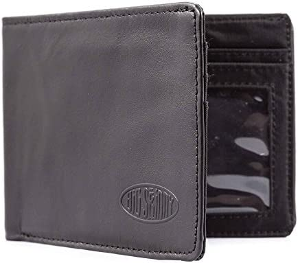 Big Skinny Men's Slimline Leather Bi-Fold Slim Wallet, Holds Up to twenty-five Cards