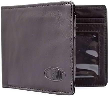 Big Skinny Men's Slimline Leather Bi-Fold Slim Wallet, Holds Up to 25 Cards
