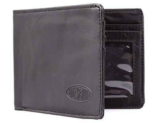 Big Skinny Men's Slimline Leather Bi-Fold Slim Wallet, Holds Up to 25 Cards, Black