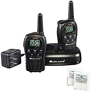 Midland - LXT500VP3, 22 Channel FRS Walkie Talkies with Channel Scan - Extended Range Two Way Radios, Silent Operation, Batteries Included (Pair Pack) (Black)