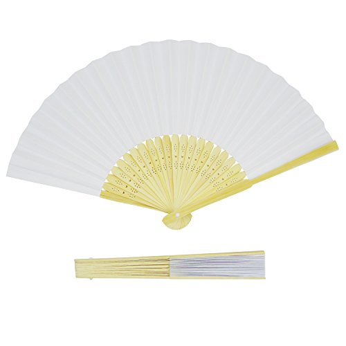 Grosun 50 Packs White Bamboo Folding Fan Handheld Fan Paper Folded Fan for Wedding Party and Home -