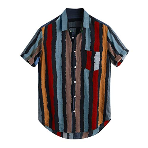 LEKODE Men Shirts Loose Multi Color Stripe Lump Chest Pocket Round Hem Tee(Red,2XL)