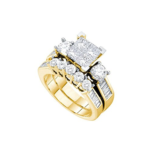 3 Ct Tw Invisible Set (Roy Rose Jewelry 3-Carat tw Princess Diamond Invisible-set Center Round and Baguette Accents Bridal Ring Set 14K Yellow)