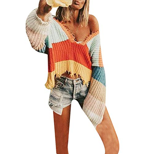 (pfpeng Women's V-Neck Rainbow Striped Sweater Pullover Sweater Fringed Loose)