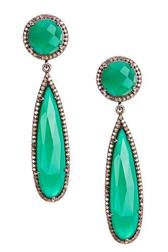 Green Onyx and Champagne Diamond Gillian Earrings (Gillian Flat)