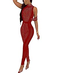 Wine Red Mesh With Sequins & Halter Neck Sleeveless Jumpsuit
