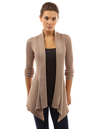 PattyBoutik Women's Ribbed Cascading Open Cardigan (Tan S) (Ribbed Open Cardigan)