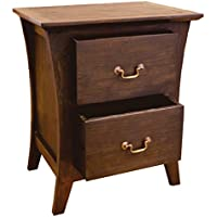 NES Furniture Fine Handcrafted Solid Teak Wood Camurry Bedside Table/Nightstand, 24