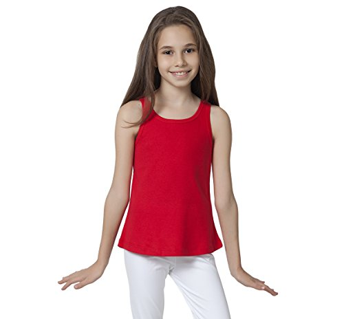 Caomp Tank Tops for Girls, Certified Organic Cotton, Sleeveless, Ribbed Tees, Red, -