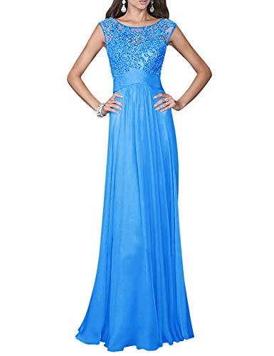 Ocean Chiffon Prom Dress Long Graduation Bess Women's Lace Evening Beaded Blue Bridal vnwSq4