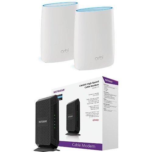 Price comparison product image NETGEAR Orbi High-performance AC3000 Tri-band Mesh WiFi System (RBK50) with NETGEAR CM600 24x8 Cable Modem DOCSIS 3.0 Max Download Speeds of 960Mbps.