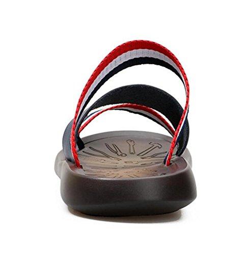 de de 43 Sandalias Playa Genuino Verano de EU43 Antideslizante Chanclas Zapatos a NSLXIE Dedo 38 eu39 del Cuero Blue pie Zapatillas Abierto Casuales los Blue Tamaño Correa Hombres w5IXWgx