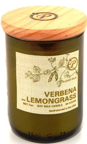 Lemongrass Candle (Paddywax Eco Collection Scented Soy Wax Jar Candle, 8-Ounce, Verbena & Lemongrass)