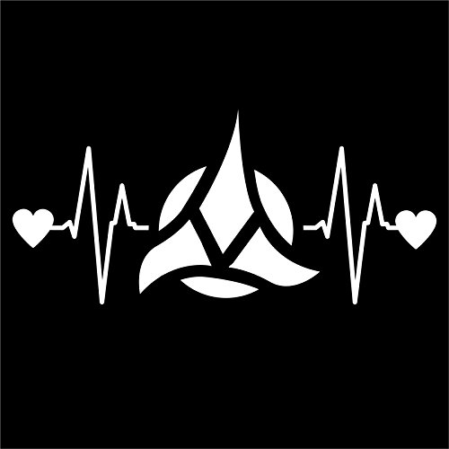DD249 Klingon Star Trek Inspired Heartbeat Decal Sticker | 7-Inches By 3.2-Inches | Premium Quality White Vinyl (Game With Card On Forehead)