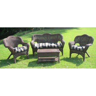 International Caravan Madison Wicker Resin Patio Conversation Set - Seats (Cottage Wicker Furniture)