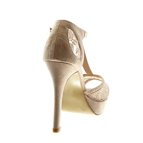 Angkorly Damen Schuhe Pumpe Sandalen - Stiletto - T-Spange - Peep-Toe - Strass - Spitze Stiletto High Heel 11.5 cm Beige