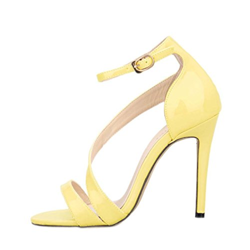 HooH Women's Stilleto Buckle D-orsay Dress Sandal Yellow NkBay5