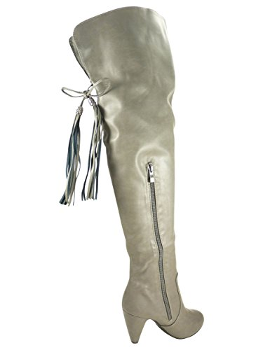 Botas altas de mujer, tacón de 8cm con cremallera, piel sintética Gris - gris