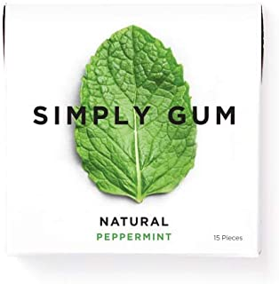 product image for Simply Gum | All Natural Chewing Gum | Peppermint | 1 Pack (15 Pieces Total) | Plastic Free + Aspartame Free + non GMO