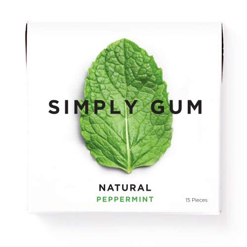 Simply Gum | Chewing Gum | Peppermint | Pack of Six (90 Pieces Total) | Vegan + non GMO