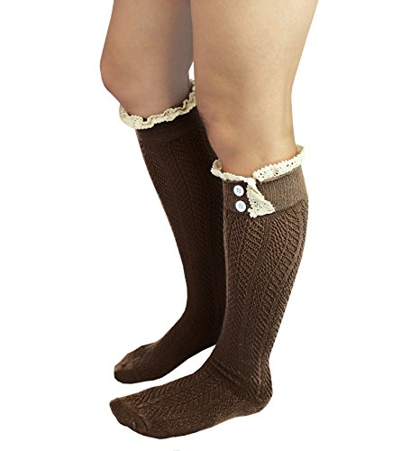 Knit Button Boot Socks with Lace Trim Knee High Socks by CL Couture (Dark Brown) Button Trim Boot