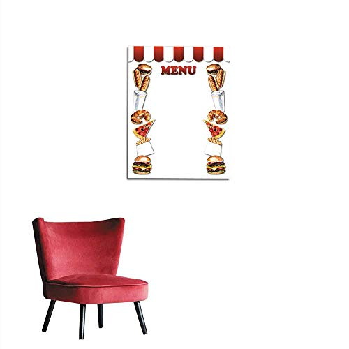 longbuyer Art Decor Decals Stickers Fast Food menu Frame from Fast Food Mural -