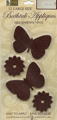 Better Home 12 Fun Butterfly Shaped Bath Tub/ Shower Walls Appliques Safety Non Slip Treads, Latest Decoration Colors (Brown) (Bathroom Appliques)