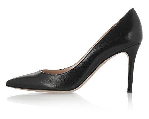 uBeauty Femmes A Enfiler Pointues Toe High Heels Escarpins Quotidiennement des Chaussures Grande Taille Noir PU xholz1z