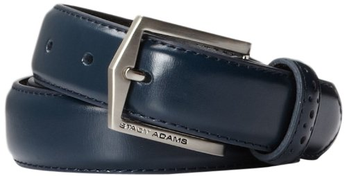 Mens Buckle Logoed Belt (Stacy Adams Men's 30 MM Pinseal Leather Belt with Brushed Nickel Buckle)