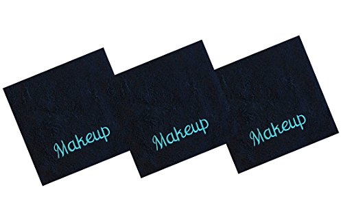 Luxury 100% Cotton Makeup Removal and Cleansing Embroidered Wash Cloths by Home Bargains Plus , New Colors, Set of 3 Make-Up Wash Cloths, Black with Aqua Embroidery