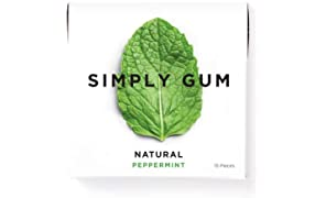 Simply Gum | Chewing Gum | Peppermint | Vegan + non GMO | Pack of Six (90 Pieces Total)