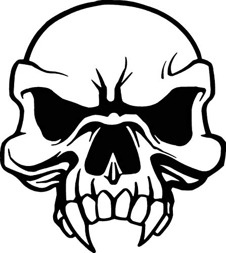 Angry Skull Face with Large Fangs Car Window Tumblers Wall Decal Sticker Vinyl Laptops Cellphones Phones Tablets Ipads Helmets Motorcycles Computer Towers V & T Gifts]()