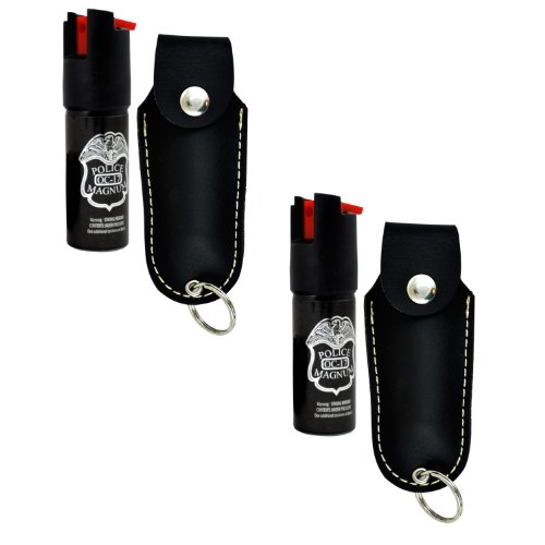 Police Magnum Faux Leather Holster Pepper Spray with UV Dye and Twist Top (Pack of 2), Black, 0.5-Ounce