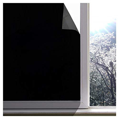 Blackout Window Film, Upgraded 100% Light Blocking Glass Tint Static Cling Window Cover for Privacy, Stop UV, Nap Time, Night Workers, Room Darkening and Day Sleeping (Matte Black, 17.7 x 98.4 Inches)