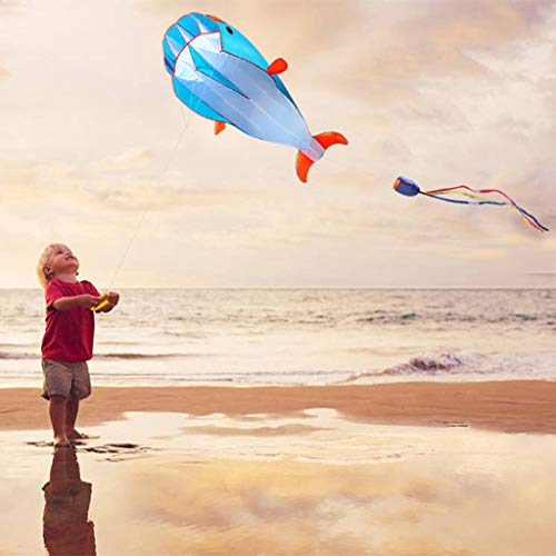 Rm.baby Kite Huge 3D Dolphin Frameless Soft Parafoil Kites for Kids and Adults Easy Flyer Giant Kite for Beach Park Garden Playground