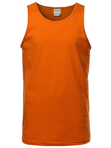 Youstar Basic Solid Sleeveless Round Neck Tank Top Orange L -