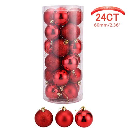 Christmass Ball Ornaments 24ct Red Shatterproof Decorations Tree Balls for Holiday Wedding Party Decoration Tree Ornaments Hooks 2.36(60mm)