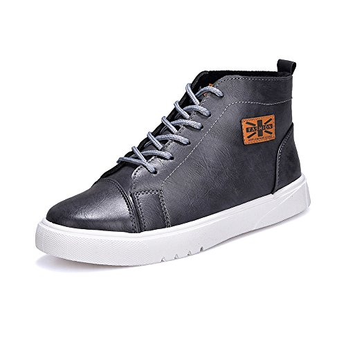 piatta Nero Dimensione EU Lace uomo Sunny Resistente all'abrasione High pelle 43 amp;Baby Casual suola in PU Martin Up Top scarpe Color Sneakers Gray mocassini BxHRqx