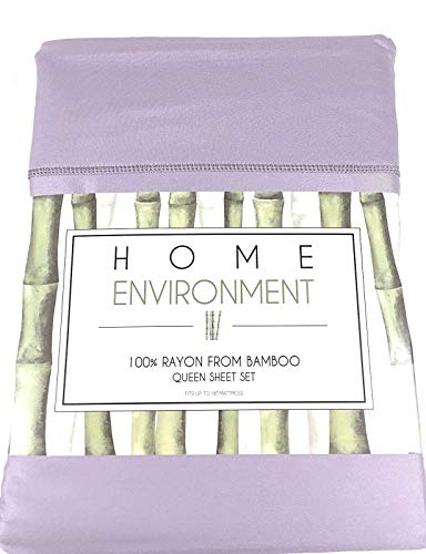 (Home Environment Lavender Lilac Queen Sheet Set 100% Rayon from Bamboo - Antibacterial Eco-Friendly)