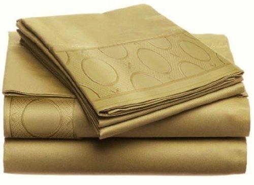2-JMA-151 Allegra KING 4pc Sheet Set GOLD by Home Dynamix LUXURIOUS Jill Morgan Embroided