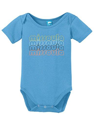 Missoula 1 Light (Missoula Montana Retro Printed Infant Bodysuit Baby Romper Light Blue 0-3)