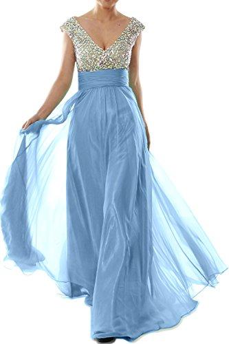 Chiffon Cap Neck Prom Women Gown MACloth Evening Himmelblau Sleeve V Crystal Long Dress xpORxqgw