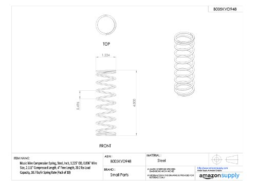 Inch 0.098 Wire Size 30.24 lbs Load Capacity 0.694 Compressed Length Pack of 10 98.7 lbs//in Spring Rate 1 Free Length Music Wire Compression Spring 0.85 OD Steel